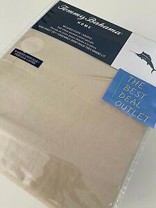 NIP TOMMY BAHAMA Cotton Beige Stone KING King Sheet Set Logo Percale Soft