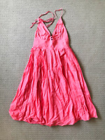 Peel Pink Sleeveless Strapped Shift Dress Size 1 with Lining Women's Cotton