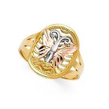 Rose Gold Fashion Band Diamond Cut Solid Oval Butterfly Ring 14k Yellow White &