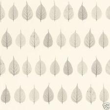 Rasch Textil Tapete 128846 Hojas Blanco Crema Papel Pintado Fibra Húmeda Gris