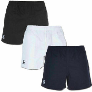 CANTERBURY MEN'S PROFESSIONAL COTTON RUGBY SHORTS WHITE NAVY BLACK **NEW