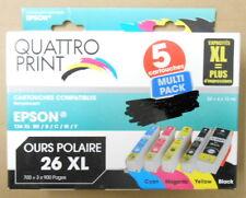 Lot 5 Cartouches QUATTRO PRINT Compatibles epson T26 XL B BK C M Y Ours Polaire