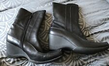 Clarks leather black  ladies wedge heel ankle  boots size uk 7D