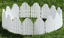"""White Picket Fence Curved Garden Border Edging Stakes (Set of 4) 12""""H x 22""""L Ea"""