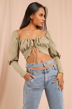 MISSPAP Milkmaid Lace Up Puff Sleeve Crop Top in Olive Green - SIZE UK 10