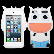 For iPod Touch 5th 6th Gen - SOFT SILICONE RUBBER SKIN CASE COVER WHITE BLUE COW