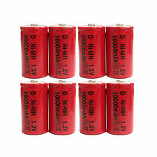 8 pcs D Size 10000mAh 1.2V Ni-MH Rechargeable Battery Cell Toy Red US Stock