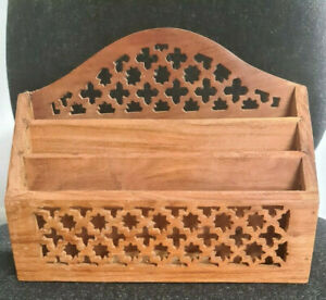 Vintage wooden letter/stationery rack with carved/ fretwork detail- 3 sections
