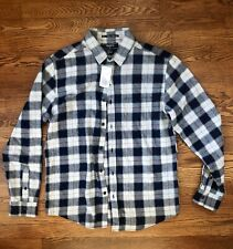 FOREVER21 Plaid Flannel Men's Medium Gray Blue Button Up Long-sleeved Shirt NWT