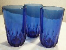 3 Luminarc France Cobalt Blue Tumbler Glasses