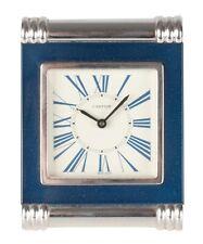 Cartier Swiss made Vintage Blue Enamel Traveling Folding Alarm Desk Clock