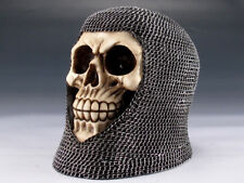 Collectible KNIGHT SKULL WITH CHAINMAIL Handpainted Resin Statue HALLOWEEN DECOR