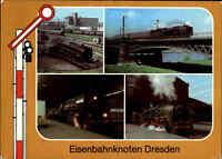 EISENBAHN Motiv-Mehrbild-AK DRESDEN Lokomotive Dampflok, Zug-Verkehr Signal DDR
