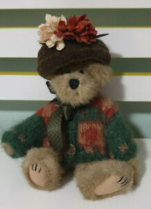 Boyds COLLECTION Teddy Bear HAT WITH FLOWERS AND CARDIGAN 23CM!