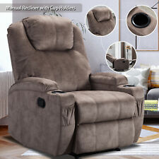 Microfiber Recliner Chair Sofa w/Cup Holders Lazy Boy Style Home Theater Seating