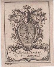 Ex-libris Auguste MIDY de LA GRAINERAIS (1747-1789) - Rouen (Seine-Maritime).