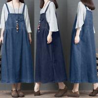 ZANZEA Womens Sleeveless Straps Demin Long Dress Ladies Maxi Dresses Plus Size