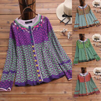 Women Floral Knitwear Cardigans Long Sleeve Sweater Knitted Top Jumper Plus Size