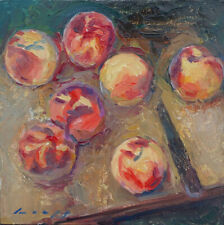 Peaches - oil painting on wood panel 12 x 12 inches by Tom Loepp