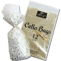 12 GOLD STAR / STARS   Christmas Cellophane Cello Party Bags With Twist Ties