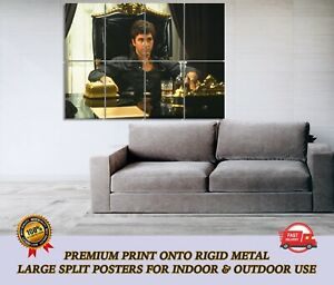 Scarface Al Pacino LARGE METAL Movie Poster Wall Art Print Split Section A1