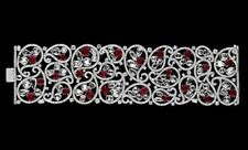 Red Filigree Style Tennis Bracelet Gorgeous Handmade 925 Sterling Silver Special