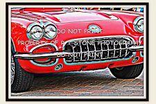 RED 1959 CHEVROLET CORVETTE FRONT GRILL LUSTRE PHOTO PRINT 12x18 POSTER ART
