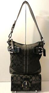 Coach 3577 Lot of 2 Leather Trim Hobo Shoulder Purse Bag Wallet Clutch Tag Charm