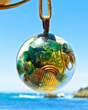 OCEAN JASPER  and EMERALD Positive Energy Orgone Dome Pendant with Copper.