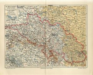 1889 GERMANY SILESIA BRESLAU now POLAND WROCLAW Antique Map dated