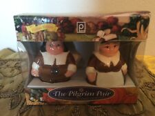 New In Box The Pilgrim Pair Salt & Pepper Shaker Publix 2001 Encore Edition