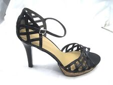 Nine West 9.5M FlowerHillo womens black ladies cork shoes high heels sandal