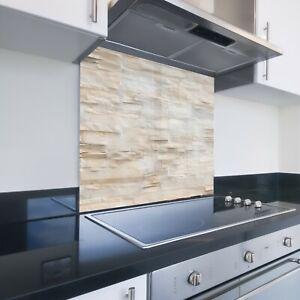 Toughened Printed Kitchen Glass Splashback - Bespoke Sizes - Stone Brick 825