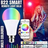 RGB LED Smart Colour Light Bulb 10W B22 WiFi App Control For Alexa and Google UK