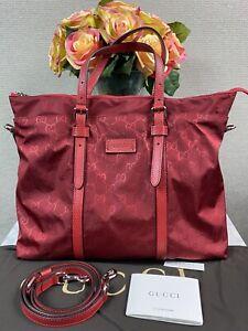 NEW Gucci Nylon Tote Guccissima Shoulder Bag Red 2Way 510332