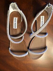 Steve Madden Silver Crystal Rhinestone Sparkly Sandals 8M