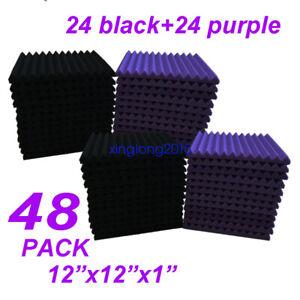 48 Pack Black/purple Acoustic Wedge Studio Soundproofing Foam Wall Tiles 12x12x1