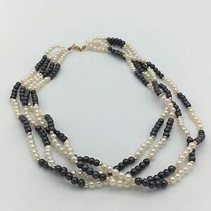 Perlen - Halskette 4-reihig Creme Grau Gold