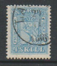 Norway - 1864, 4sk Pale Blue stamp - F/U - SG 16