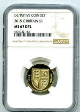 2015 GREAT BRITAIN POUND NGC MS67 DPL LAST ROUND ROYAL SHIELD DESIGN PROOF LIKE