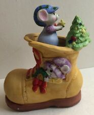 Mouse Music Box Mice In Shoe Christmas Music Box New Old Stock Jasco Porcelain