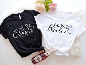 Groom Bride Honeymoon Gift New Couple Wedding Just Married T Shirt (01 Tee)