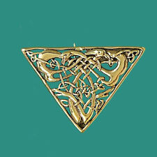 Unusual Triangular Vintage Gold Celtic Knot Two Birds Brooch Pin