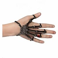 Adult Women's Skeleton Silver Claw Ring Bracelet Halloween Costume Hand Jewelry