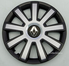 """Brand new black/silver 15"""" wheel trims hub caps to fit Renault Clio"""