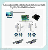 2-Door Control Kit with Reader/Switch/Power Unit/Key Fob/ Electric Strikes Locks