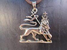 Rasta Lion, Lion of Judah Gold Tone Pewter on Brown Cord Necklace #SHIP449B