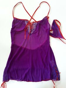 Shirley of Hollywood Women 8-14 Sheer Purple Cami and Thong Designer Lingerie