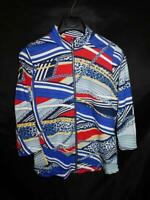 Chico's Weekends Size 1 M Blue Red Yellow Print Shirt Full Zip 3/4 Sleeve Cotton