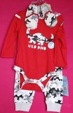 Cutie Pie Boy 3 Piece Set 3-6 Months Camo Wild Dino Red Dinosaur Long Sleeve
